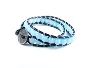 Pale Blue Leather Wrap Bracelet, Double Wrap Leather Bracelet, Chalcedony Boho Bracelet, Small