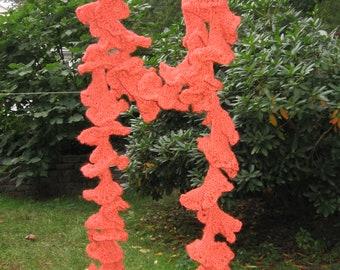 Potato Chip Rust Spiced Pumpkin Ruffled Scarf Hand Knit
