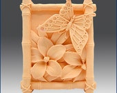 2D Silicone Soap Mold -Butterfly in Bamboo Frame - free shipping  Buy from original designer - Say no to copy cats