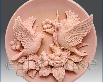 2D Silicone Soap Mold -Birds with Nest - free shipping  Buy from original designer - Say no to copy cats