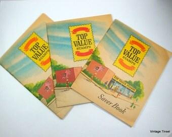 Vintage Top Value Stamps, Saver Books, TV Stamps, Set of Three, 1966, Mid Century, Retro Paper Ephemera   (2476)