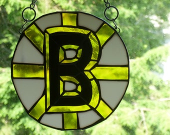 Stained Glass NHL Boston Bruins inspired Panel