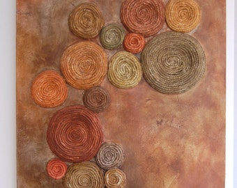 Tree Lichen Painting Abstract Mixed Media Copper and Green Textured Tactile 3D Art