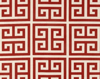 Premier Prints Towers Primary Red/Natural- Towers Greek Key