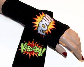 Comic Book Kaboom Pow Neon fighting words Fleece Embroidered Arm Warmers MTCoffinz