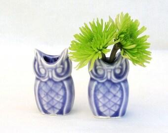 Tiny Owl Vase Pair in Stoneware with Lavendar Glaze