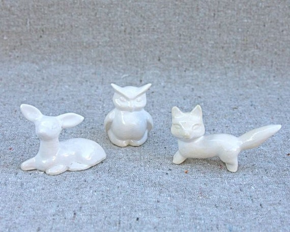 Tiny Fox, Owl, Deer Trio in Stoneware Ceramic with White Glaze