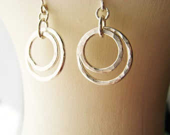Sterling Silver Earrings - Circles Hammered Rings Everyday Wear Modern Hoop Sister Classic Gift