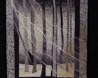 Black and White Wooded Scene Quilted Wallhanging