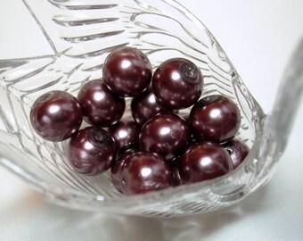 Mauve Glass Pearl Round Beads (Qty 15) - B1459