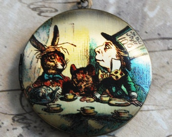 Mad Hatter's Tea Party Locket Necklace - Alice in Wonderland Brass Photo Locket  (R3B-A2)