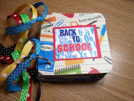 Back to School Mini Album Chipboard Scrapbook