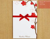 Personalized Red and White Flowers Notepad Stationary - 50 sheets