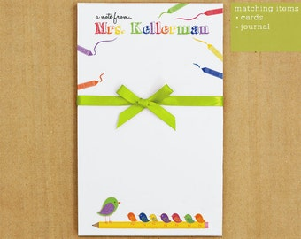 Personalized Notepad - Crayon Teacher Stationary