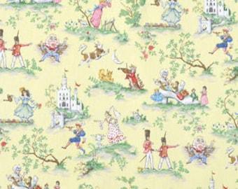 "Covington Over the Moon fabric   Yellow Nursery Rhyme Toile Baby Room Decor   54"" width"