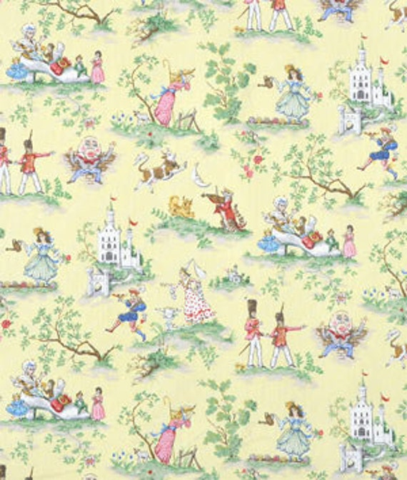 Covington over the moon fabric yellow nursery rhyme toile for Yellow nursery fabric