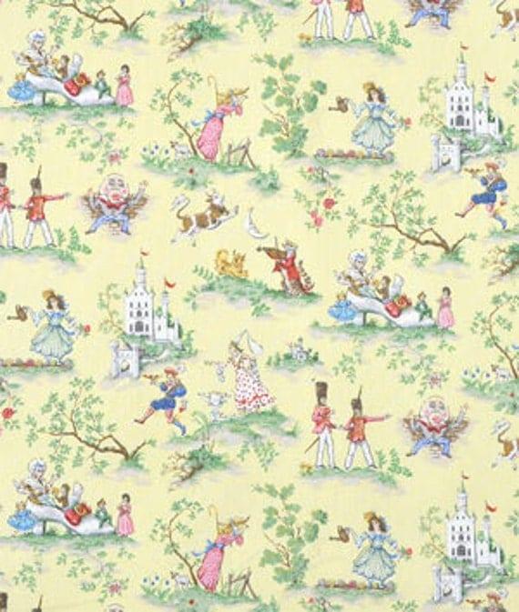 Covington over the moon fabric yellow nursery rhyme toile for Yellow nursery fabric