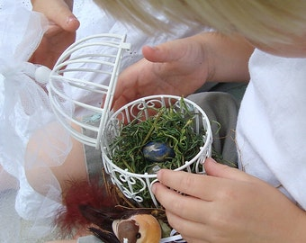 Vine Bird Cage Nest Love Nest with Bird, Eggs and Natural Leaves Jasmine Wicker, Ring Bearer Pillow Alternative, Natural Rustic Wedding