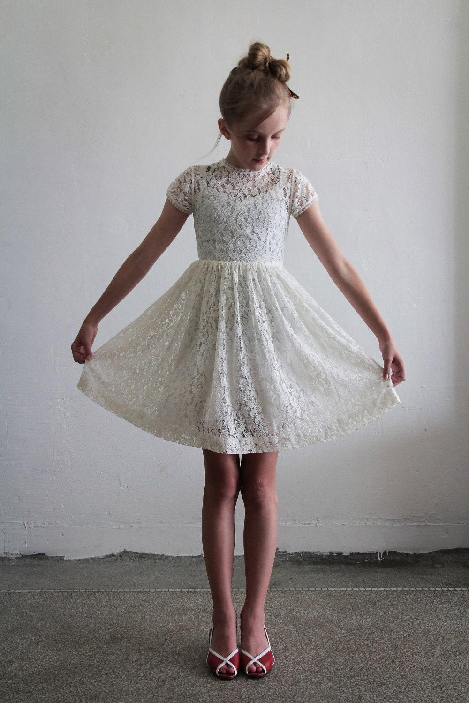 1950s Girls Dress White Lace Kids Childrens Flower