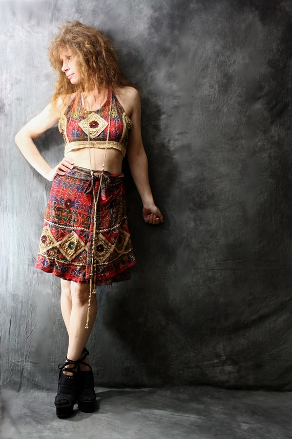 Vintage 1970s Hippie India Embroidered Patchwork and Plaid  2 Piece Halter Dress Skirt and Top Set