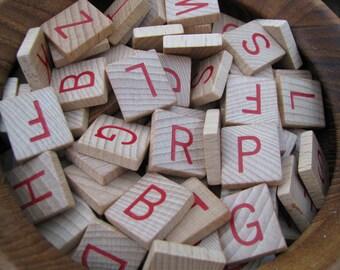 Vintage Red Wooden Letter Anagram Tiles.