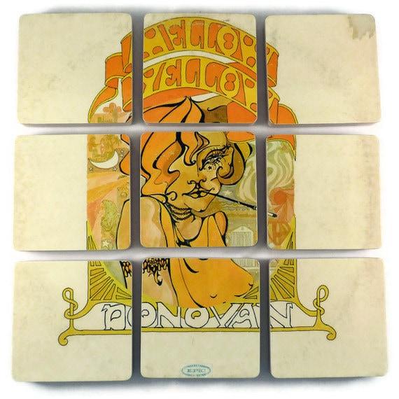 "DONOVAN - ""Mellow Yellow""  Record Album Cover Coasters and Wacky Vinyl Bowl"
