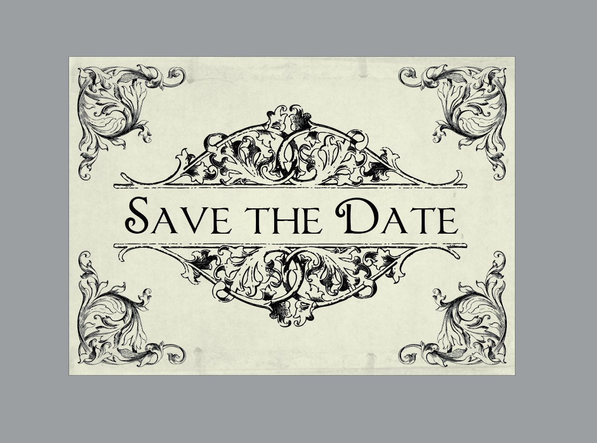 Wedding Save The Date Postcards: Wedding Save The Dates Vintage Victorian Edwardian Rustic