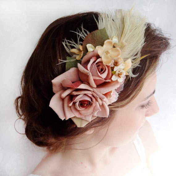 vintage wedding, mauve pink rose, flower fascinator, wedding hair accessory - PIROUTTE - feather headband