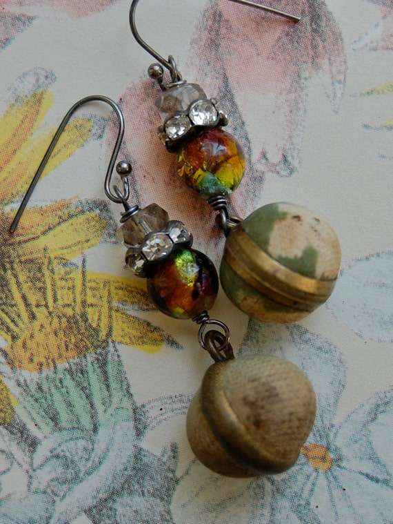Fabric Buttons-antique vintage victorian button assemblage earrings