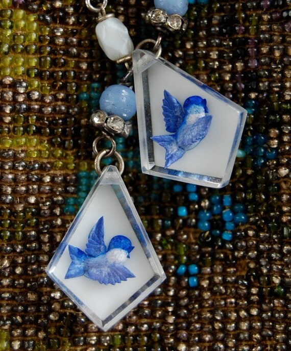 Blue Birds Bring Happiness-Antique reverse carved lucite bird assemblage earrings