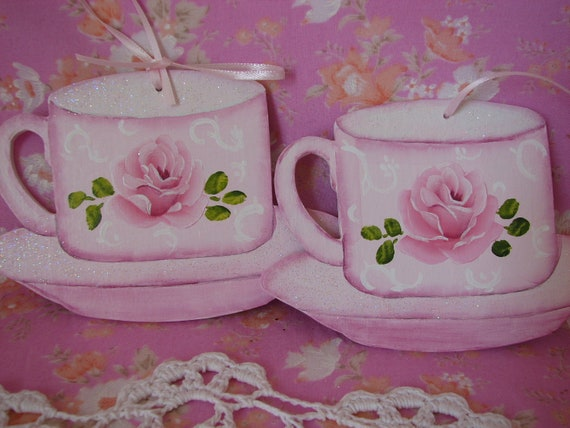 Teacup Ornaments Set of 2 Hand Painted Shabby chic Pink Rose, Glitter