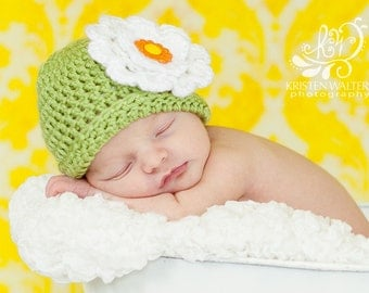 Newborn Light Green Crocheted Hat with Flower.... Photography Prop... Ready to ship