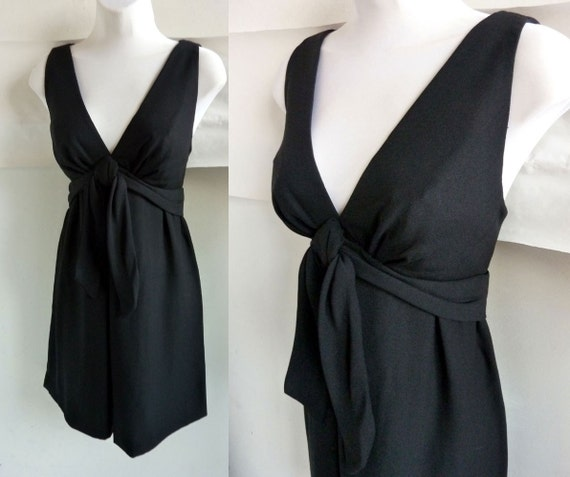 Vintage 60s Dress Mod Little Black Empire Cocktail size 34 j