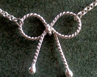 Silver Bow Necklace / Handmade Sterling Silver Twisted Bow Necklace with Rolo Chain / Simple Knot Pendant with Chain