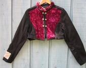 XL Romantic Victorian Steampunk Cropped Jacket - Upcycled Bolero Shrug with Crushed Velvet