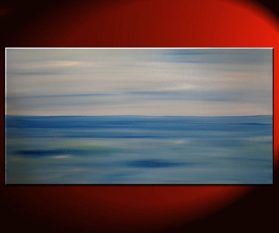 Large Abstract Seascape Painting Deep Blue Ocean Water Wall Art Oversized 60 x 30 Mails quickly