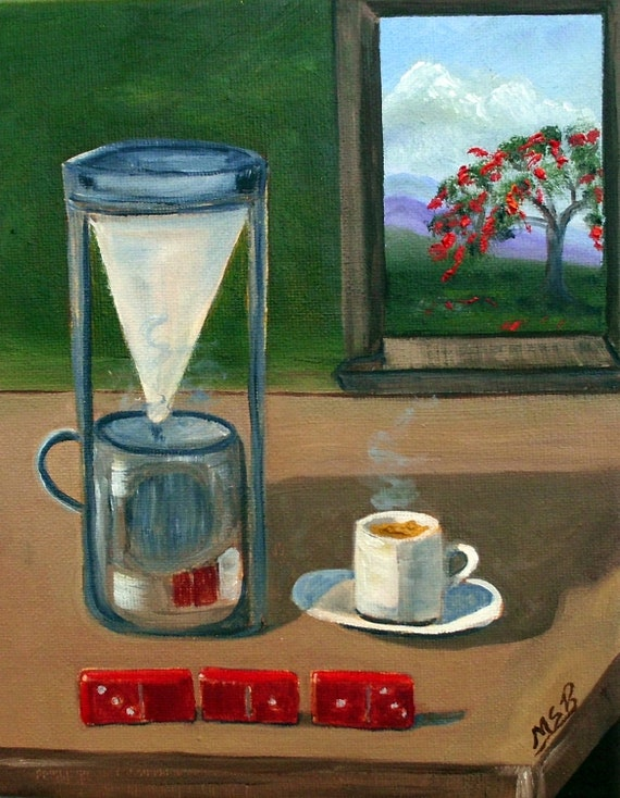 Cuban Coffee Dominoes and Royal Poinciana Original Oil Painting Free Shipping