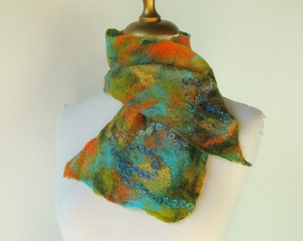 Felted Scarflette -  turquoise and orange - TWO different sides