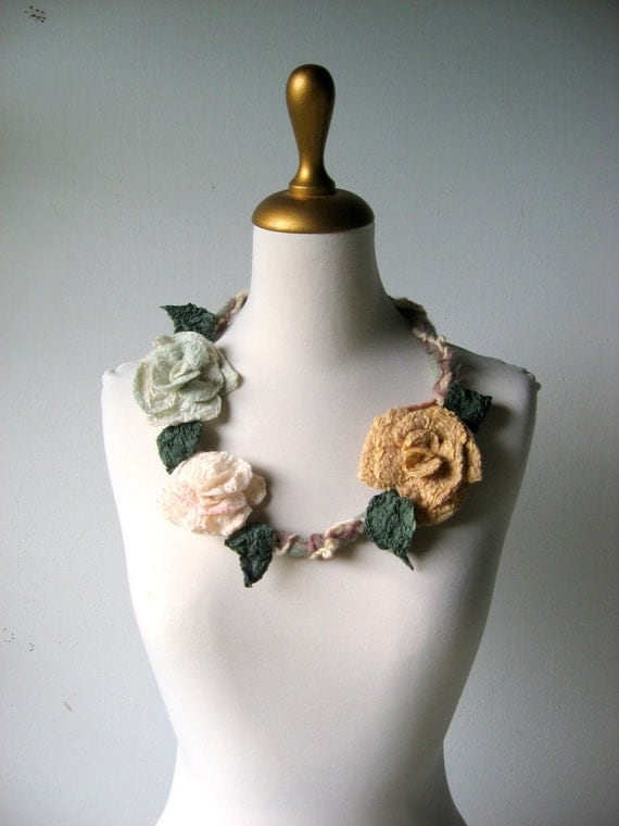 Felted Flower Statement Necklace  Winter Roses  Aqua Cream Golden