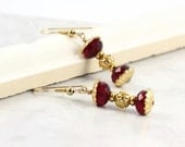 Ruby Red Earrings Hourglass Czech Glass Gold Filigree Gold Filled Ear wires