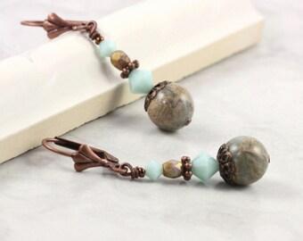 Aqua Terra Jasper Earrings Mint Green Crystal Mediterranean Style Rustic Jewelry