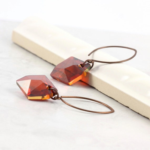 Fiery Red Earrings Red Magma Flame Fire Crystal Handmade Copper Ear Wires Mothers Day Jewelry