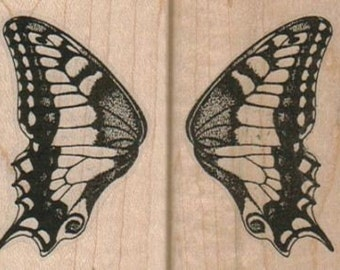 Butterfly Wing Set (2) Each rubber stamps place cards gifts wood mounted number10617 set of two stamps- right and left wings