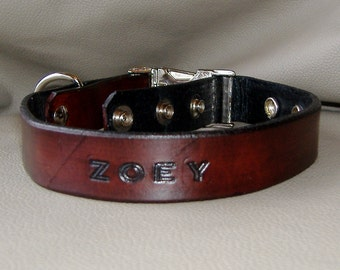 Custom Name 1 inch width Leather Collar with Quick Release Buckle, Choice of 16 Colors and Letters