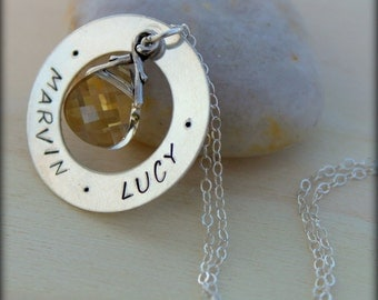 FREE SHIPPING. Swaroskvi Crystal. Washer. Hand Stamped Names.