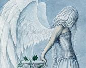 Hope 8.5 x 11 Print Angel Art Blue Wings Emotion Watercolor