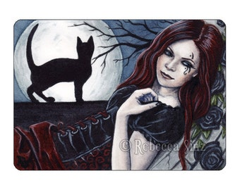 Gothic Moon Limited Edition ACEO Print Black Red Cat Corset Artist Trading Cards ATC Fantasy Art Witch Night