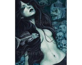 Dead Sea ACEO Print Gothic MERMAID skulls fish skeletons Artist Trading Cards ATC Fantasy Art Teal Dark