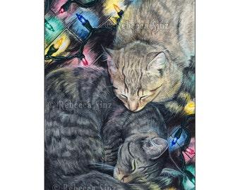 Christmas Kitties ACEO Print cute sleeping cats kittens holidays Artist Trading Cards ATC Fantasy Art