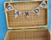 Natural Burlap and Purple CARD Bunting G0433- shabby chic wedding decoration